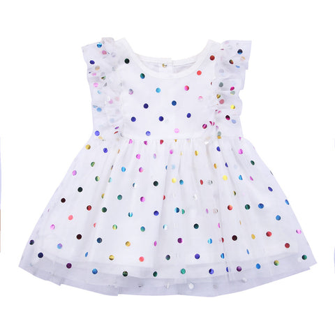 Mara Polka dot & Ruffled Sleeved party dress (Toddler & Kids)