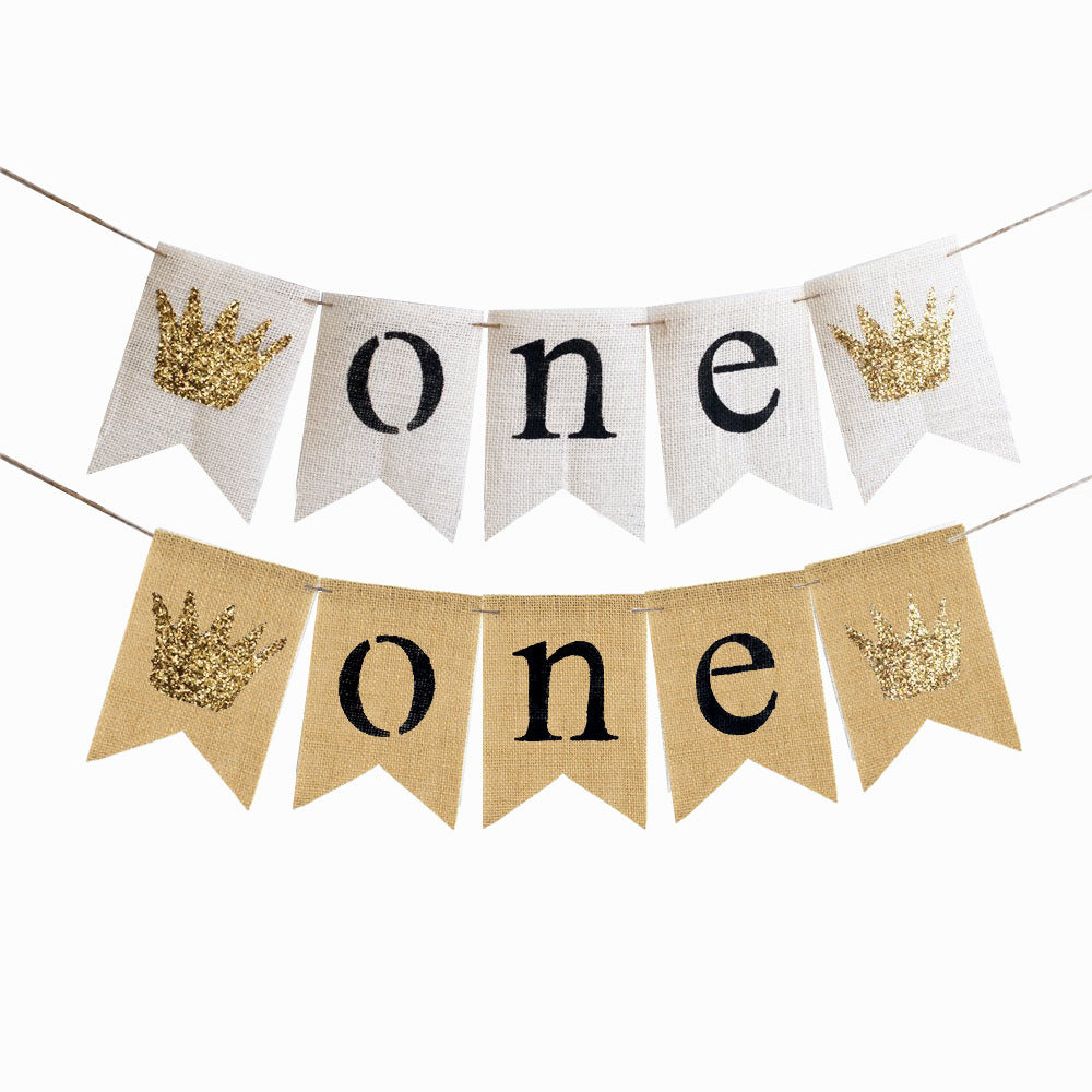 Princess/Prince First Birthday Banner
