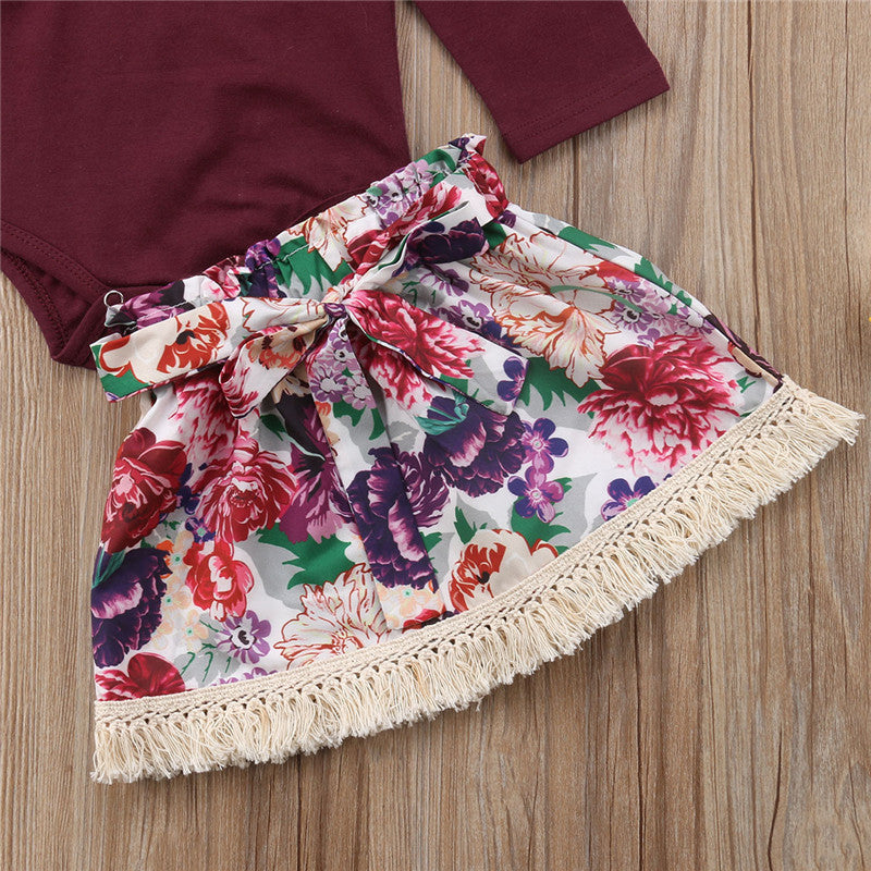 Burgundy & Floral outfit