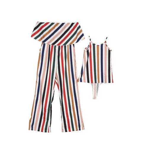 Striped M&D Matching Jumpsuit