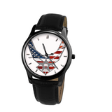 Air Force Old Glory 30 Meters Waterproof Quartz Leisure Watch With Black Genuine Leather