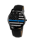 Blue Line Old Glory 30 Meters Waterproof Quartz Leisure Watch With Black Genuine Leather