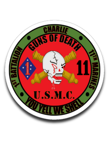 1st Battalion 11th Marines Charlie - You Yell We Shell Sticker