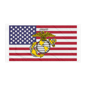 Old Glory & Marines logo Beach Blanket