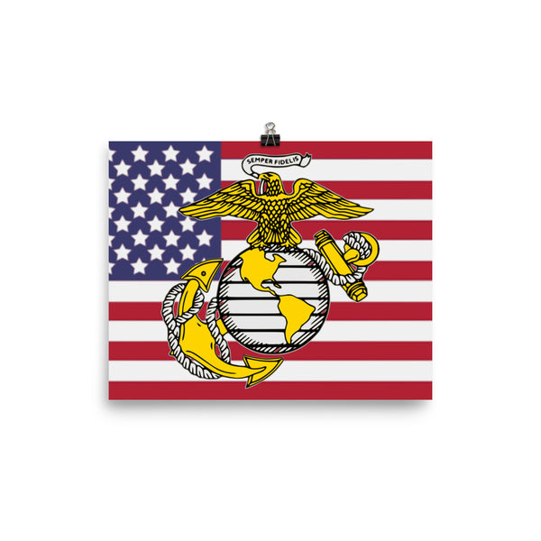 Marines Old Glory and Corps logo Photo paper poster