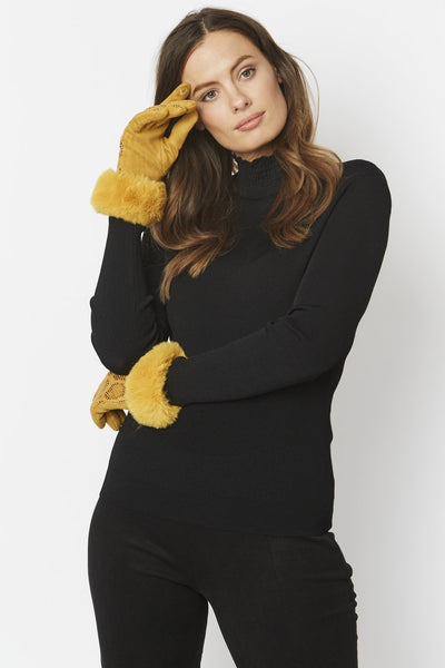 Suede Gloves with Faux Fur Cuff