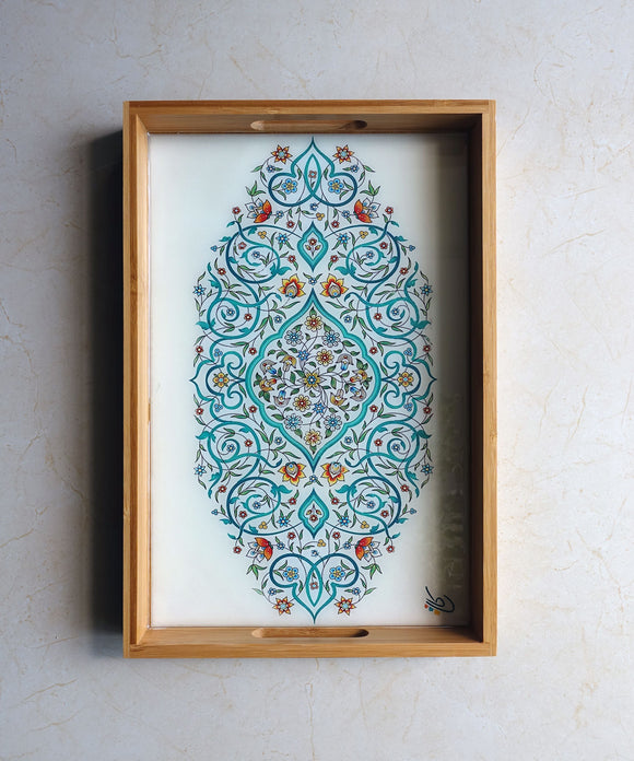 Floral Wooden Persian Tray