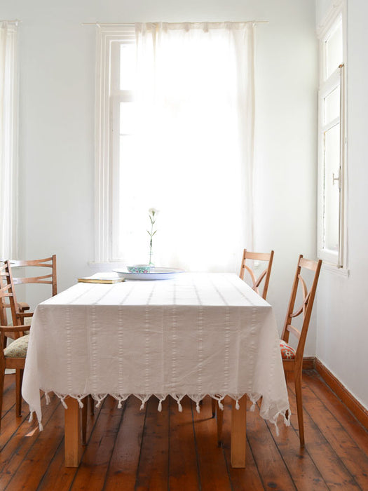 Beautiful Mediterranean style table cloth from Turkey with ribbed stripes and fringe, made of fine cotton.