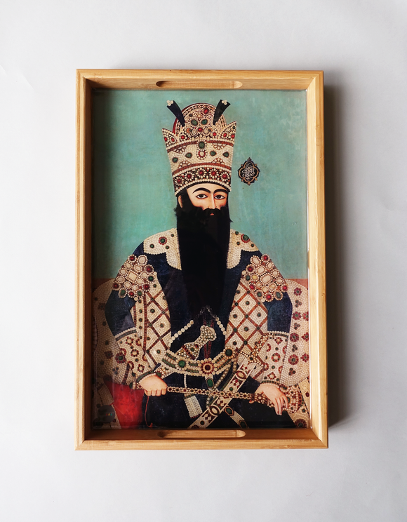Qajar king - Persian Design Wooden Tray