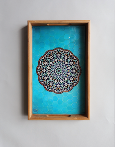 Blue yazd tile - Persian Design Wooden Tray