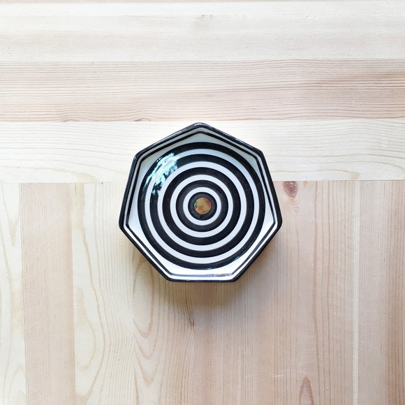 Striped B&W Ceramic small plate