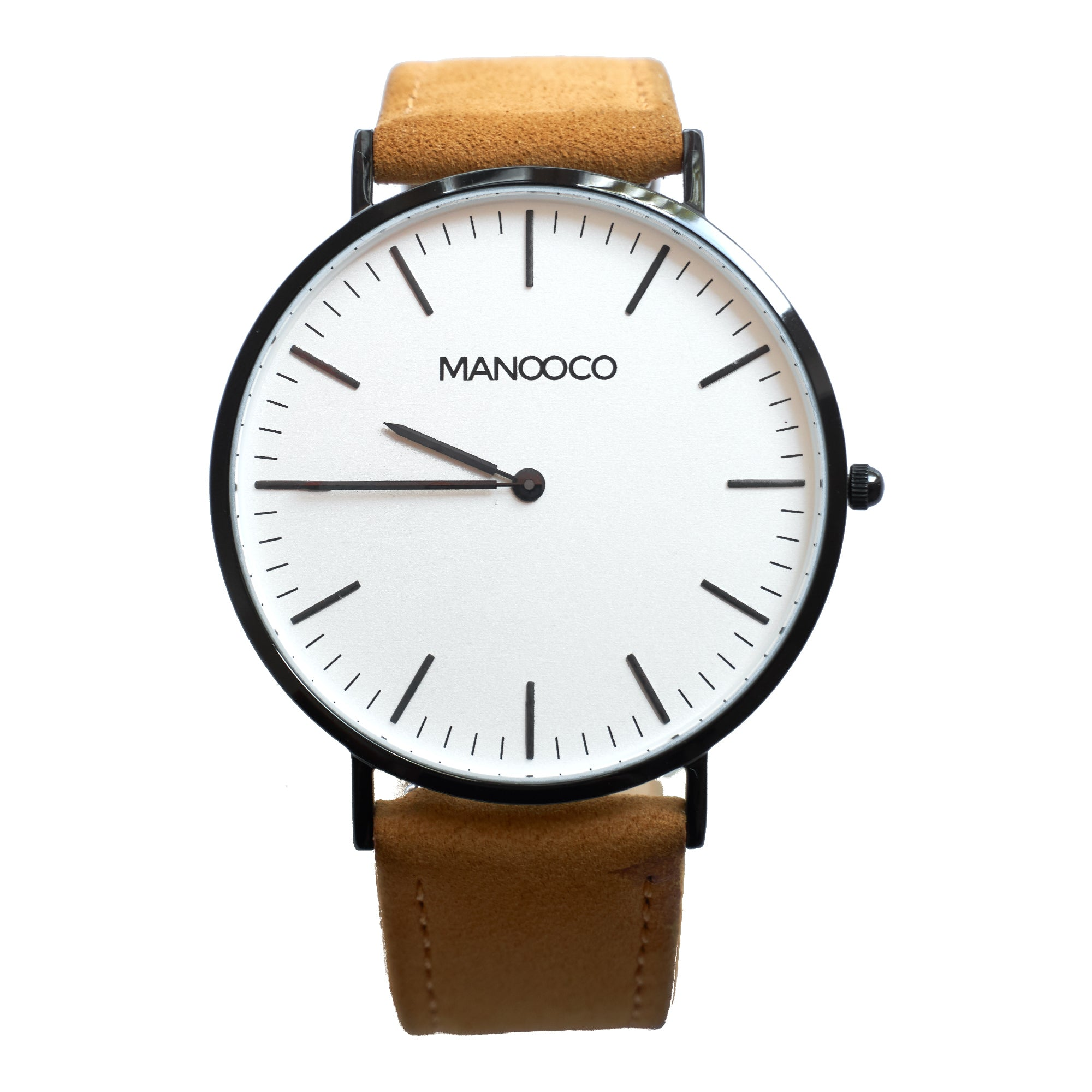 Zephyr Black / Light Brown Leather - Watch - MANOOCO - Watch - manooco