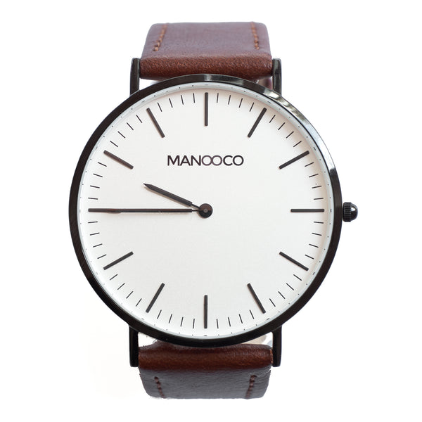 Zephyr Black / Dark Brown Leather - Watch - MANOOCO - Watch - manooco