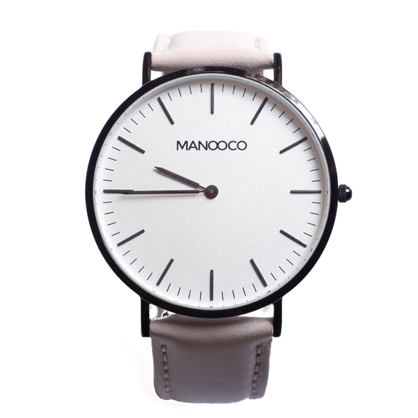 Zephyr  Black / Beige Leather - Watch - MANOOCO - Watch - manooco