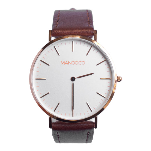 Zephyr Rose Gold / Dark Brown Leather - Watch - MANOOCO - Watch - manooco