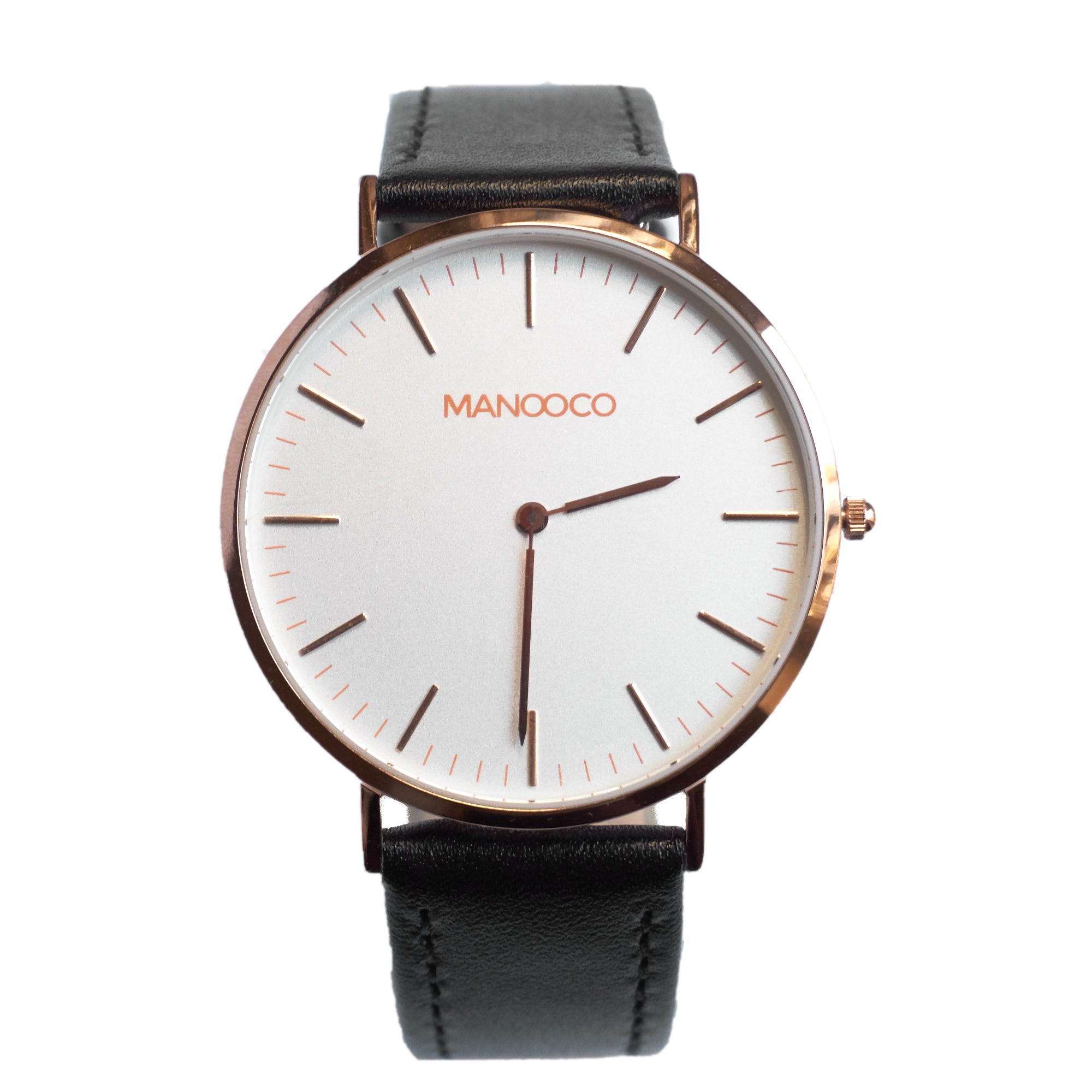 Zephyr Rose Gold / Black Matt Leather - Watch - MANOOCO - Watch - manooco