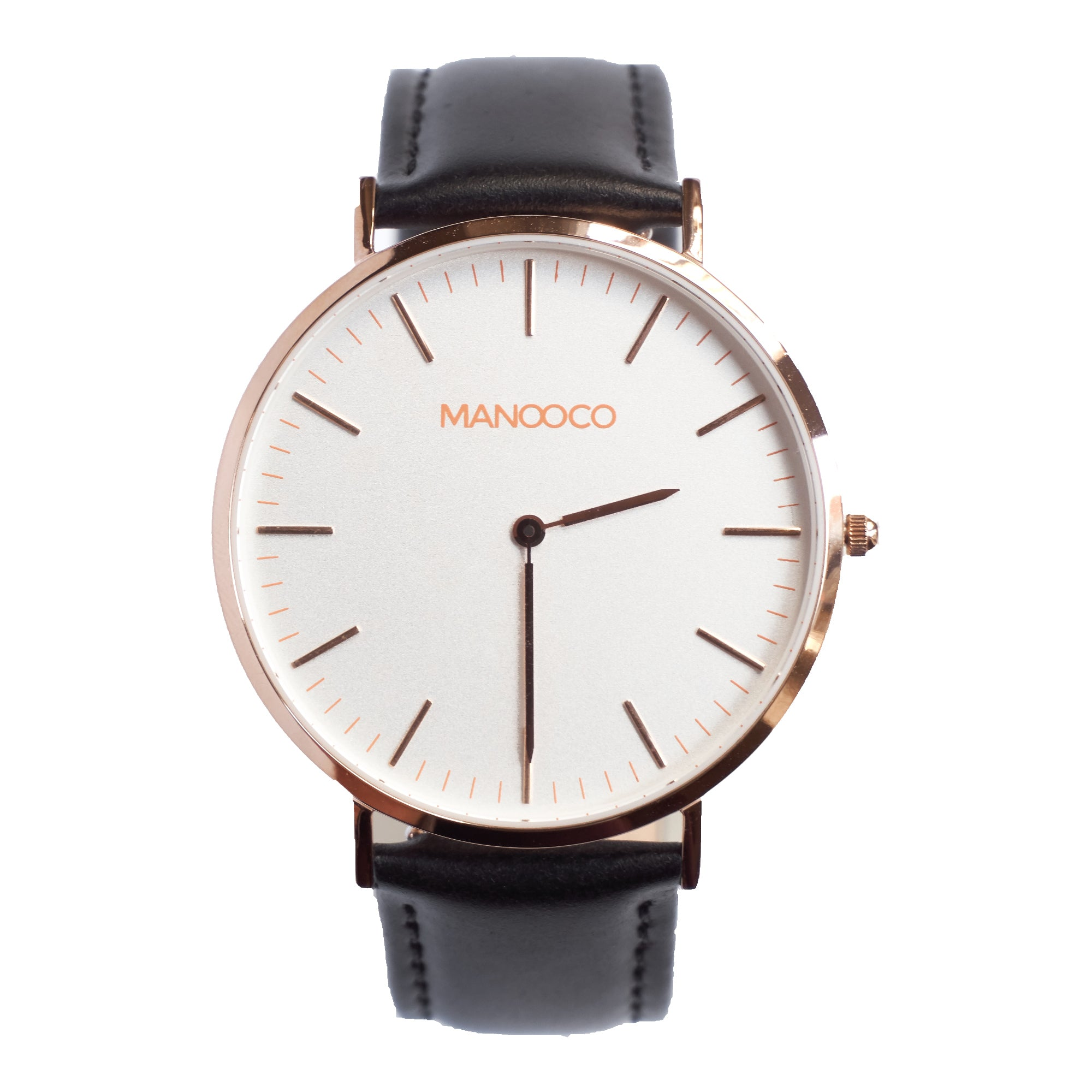Zephyr Rose Gold / Black Glossy Leather - Watch - MANOOCO - Watch - manooco