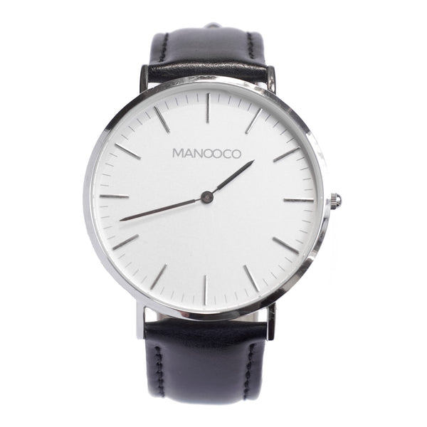 Zephyr Silver / Black Leather - Watch - MANOOCO - Watch - manooco