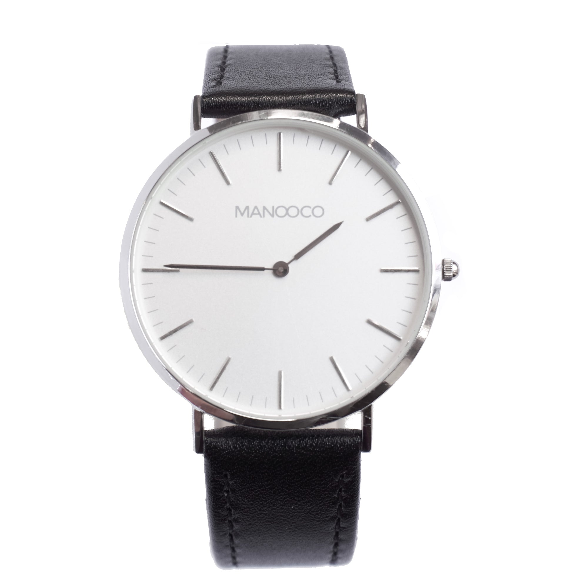 Zephyr Silver / Black Matt Leather - Watch - MANOOCO - Watch - manooco