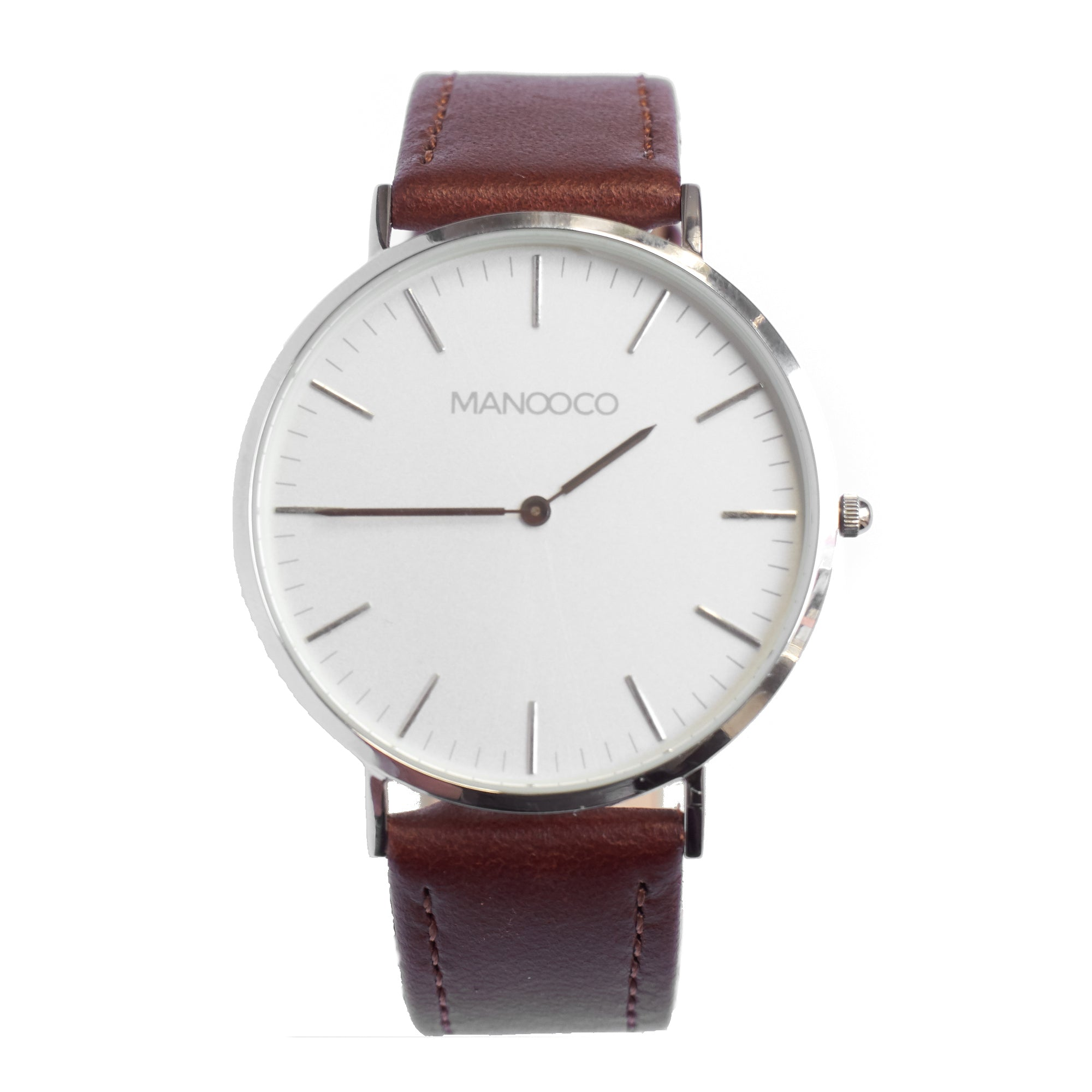 Zephyr Silver / Dark Brown Leather - Watch - MANOOCO - Watch - manooco