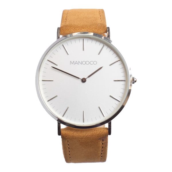 Zephyr Silver / Light Brown Leather - Watch - MANOOCO - Watch - manooco