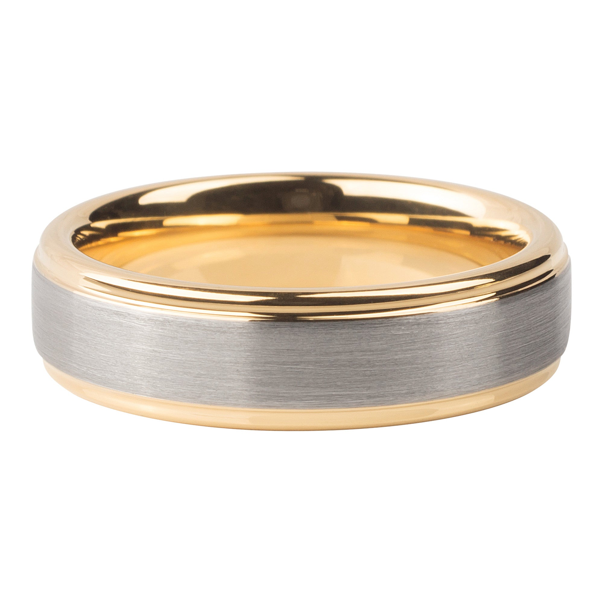 Silver brushed gold interior ring 6mm - Ring - MANOOCO - Ring - manooco