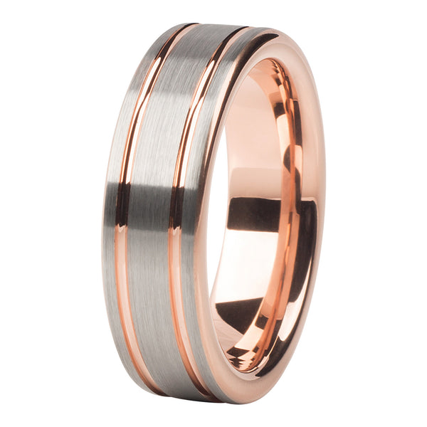 Rose gold - silver brushed 2 stripes ring 6mm - Ring - MANOOCO - Ring - manooco