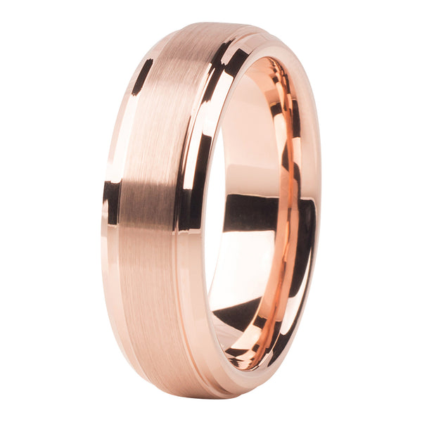 Rose gold brushed ring 6mm - Ring - MANOOCO - Ring - manooco