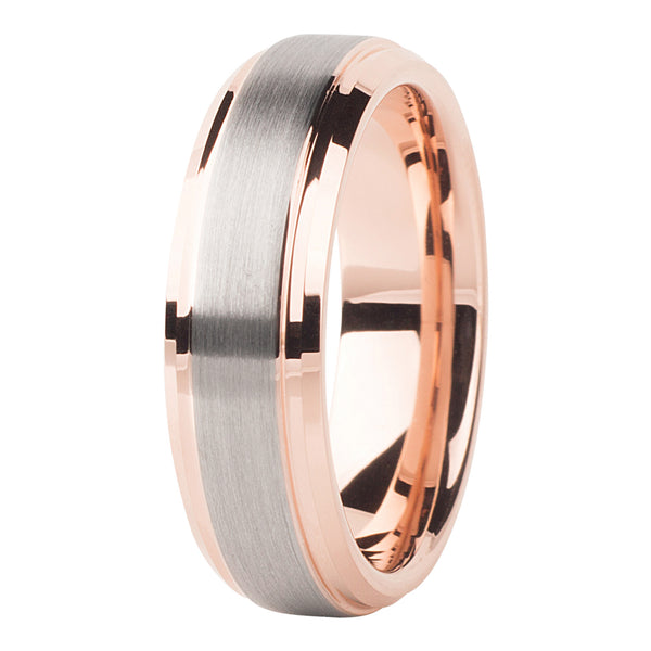 Rose gold - silver brushed ring 6mm - Ring - MANOOCO - Ring - manooco