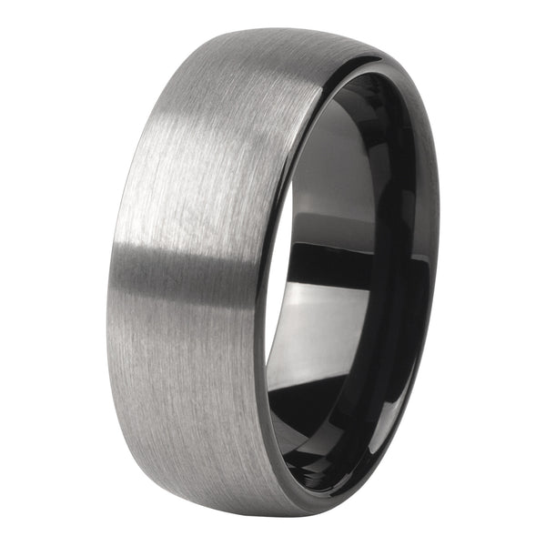 Silver - black brushed ring 8mm - Ring - MANOOCO - Ring - manooco