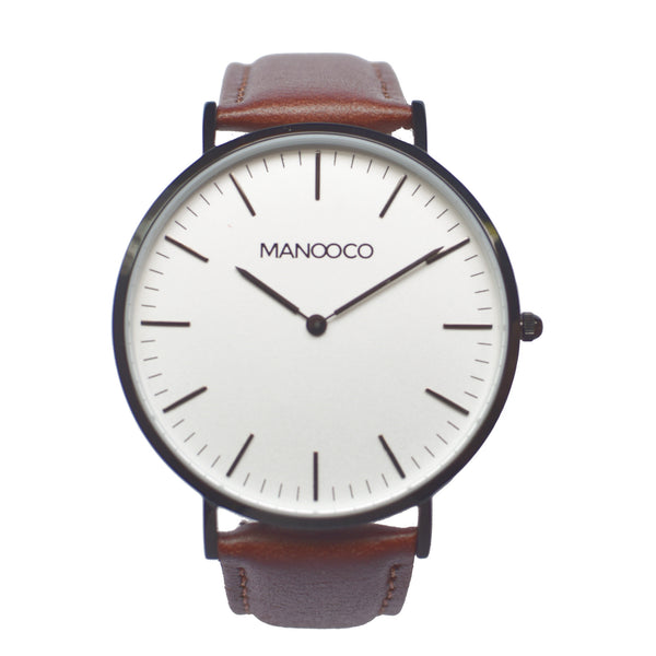 Zephyr Black / Brown Leather - Watch - MANOOCO - Watch - manooco