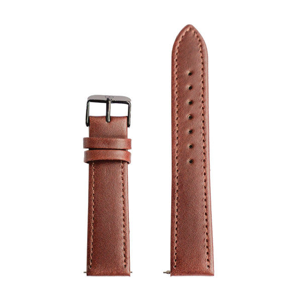 Dark Brown Matt Genuine Leather Strap - Strap - MANOOCO - Strap - MANOOCO