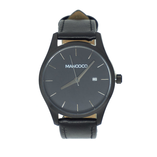 Sol Black / Black Leather - Watch - MANOOCO - Watch - manooco