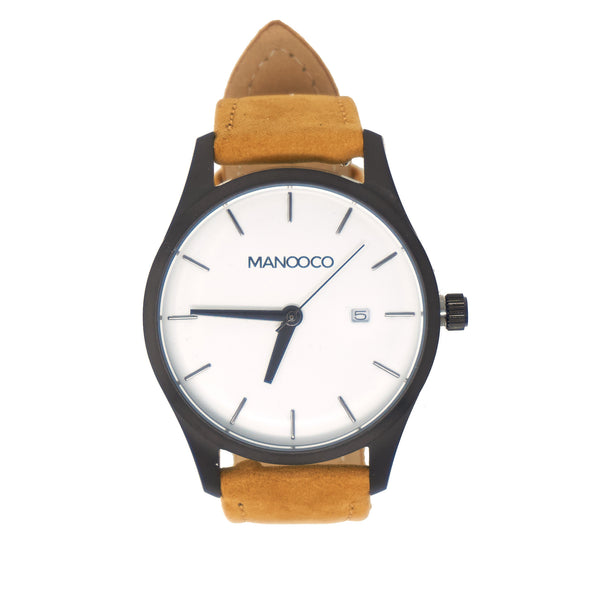Sol White / Light Brown Brushed Leather - Watch - MANOOCO - Watch - manooco