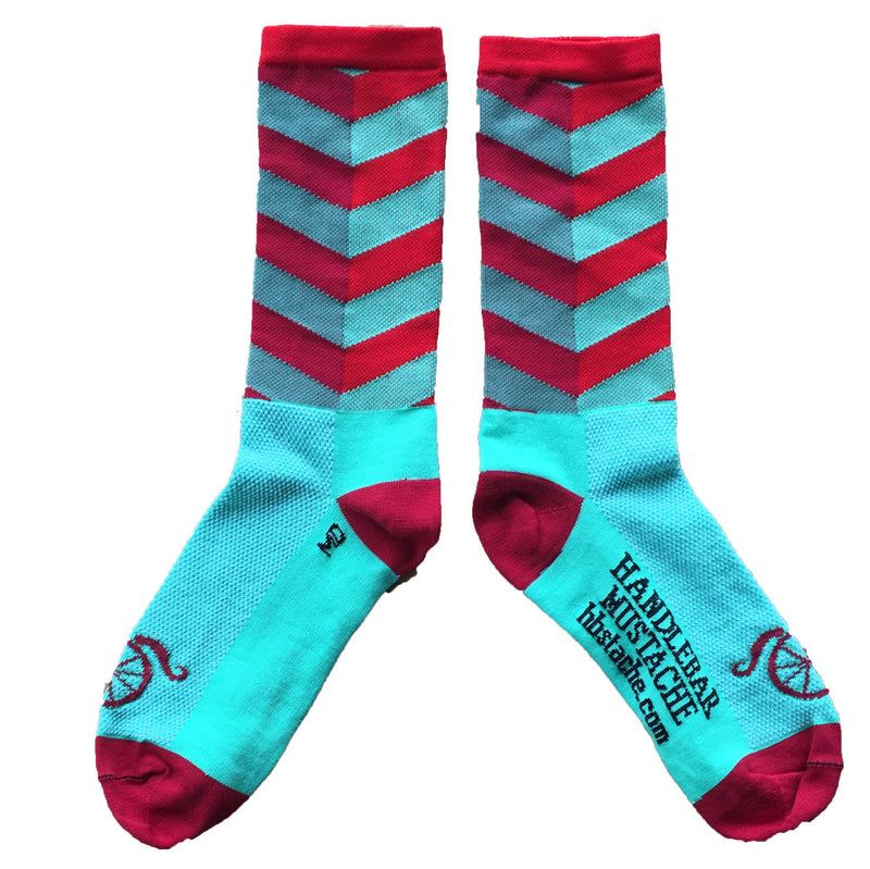 City Socks - Red/Turquoise