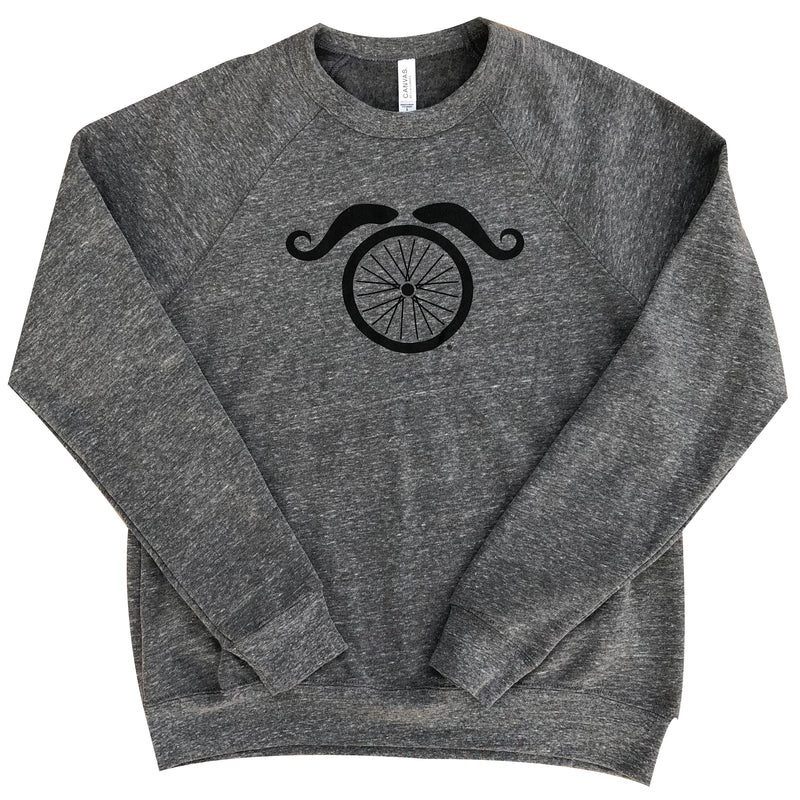 Wheel and Stache Crewneck Sweatshirt - Gray - Men's