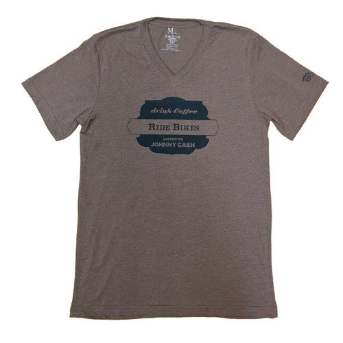 Bikes Coffee Cash V-Neck - Heather Brown - Men's