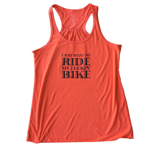 Ride my Fuckin' Bike Tank - Coral - Women's