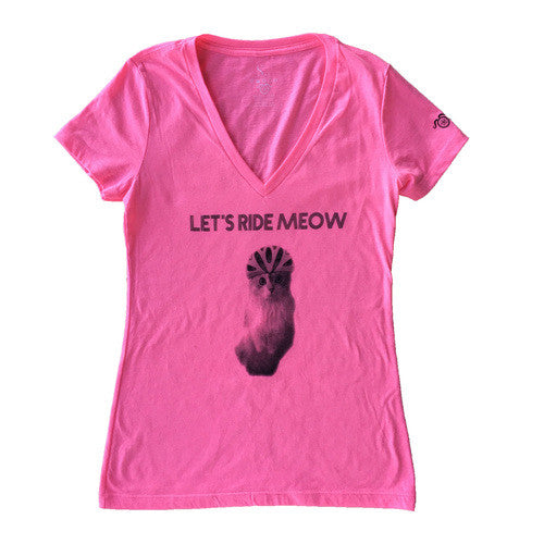 Ride Meow V-Neck - Neon Pink - Women's