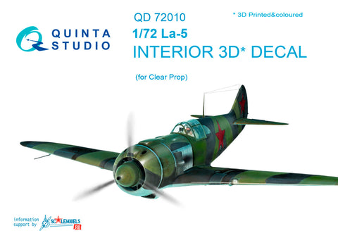 La-5 3D-Printed & coloured Interior on decal paper (for ClearProp kit)