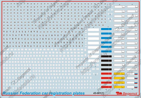 Russian car registration plates
