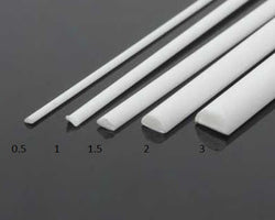 1 mm Half Round Bar Styrene (2 pc)