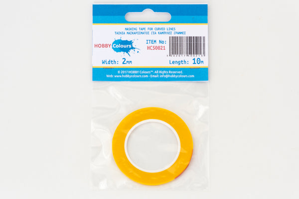 Masking Tape 2mm x 10m - Curved Lines (yellow)