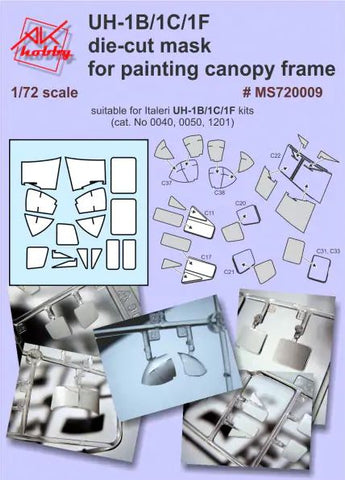 UH-1B/1C/1F die cut mask for painting canopy frame (for Italeri)
