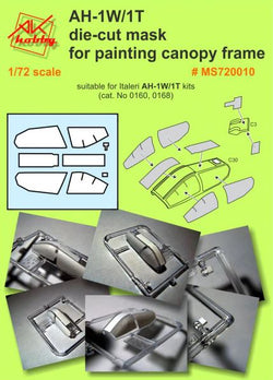 AH-1W/1T die cut mask for painting canopy frame (for Italeri)