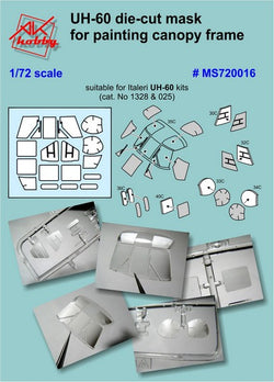 UH-60 die-cut masks for canopy and wheels (for Italeri)