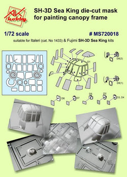 SH-3D Sea King die-cut masks for canopy and wheels (for Italeri & Fujimi)