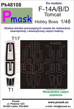F-14A/B/D Tomcat canopy masks (for Hobby Boss)