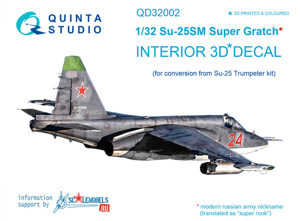 Su-25SM 3D-Printed & coloured Interior on decal paper (for Trumpeter kit)