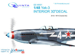 Yak-3 - 3D-Printed & coloured Interior (for 4814 Zvezda kit)